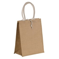 Renoir Natural jute bag with colored cotton handles - WHITE
