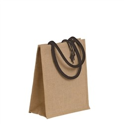 Natural jute bag with colored cotton handles - BLUE