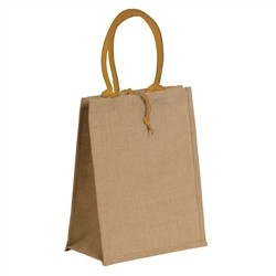 Natural jute bag with colored cotton handles - ORANGE