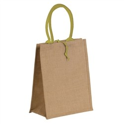 Natural jute bag with colored cotton handles - GREEN