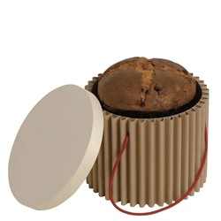 Doric Panettone - Corrugated cardboard with cover in wooden leaf leads panettone