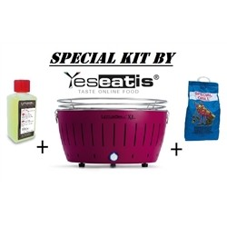 Lotusgrill NEW KIT by YESEATIS 2017 -Barbecue XL+high performance Charcoal and gel-PURPLE