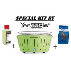 Lotusgrill NEW KIT by YESEATIS 2017 -Barbecue XL+high performance Charcoal and gel-GREEN