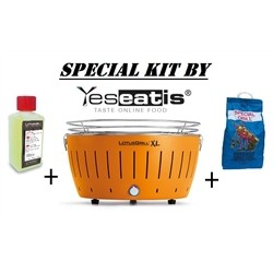 Lotusgrill NEW KIT by YESEATIS 2017 -Barbecue XL+high performance Charcoal and gel-ORANGE