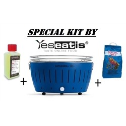 NEW KIT by YESEATIS 2017 -Barbecue XL+high performance Charcoal and gel-BLUE