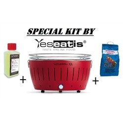 NEW KIT by YESEATIS 2017 -Barbecue XL+high performance Charcoal and gel-RED