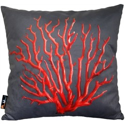 MeroWings MeroWings Coral Red On Cream Square Cushion 45 x 46