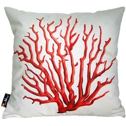 MeroWings MeroWings Coral Red On Grey Square Cushion 45 x 45 RV SFR