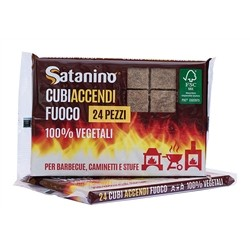 Satanino firelighter cubes 48 pieces - 100% vegetable, ideal for barbecue, fireplace and heater