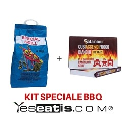 4 Kg Carbobois Charcoal+ 32 White firelighter cubes Satanino