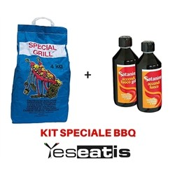 Kit Barbecue ideale per Lotusgrill - 2 x 2Kg Carbonella di Legna purissima + 1 x 500ml Gel accendifu