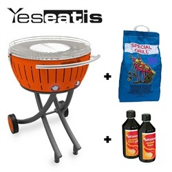 Lotusgrill XXL with wheels - Starter Kit BBQ with 2Kg Charcoal and 500ml Firelighter Gel - Orange