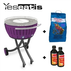 Lotusgrill XXL with wheels - Starter Kit BBQ with 2Kg Charcoal and 500ml Firelighter Gel - Purple