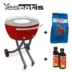 Lotusgrill XXL - Starter Kit BBQ with 2Kg Charcoal and 500ml Firelighter Gel - Red