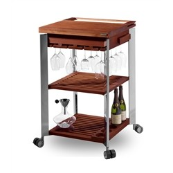 Legnoart DIONYSUS Kitchen Trolley made of stainless steel and thermo ashwood - 60x60x95cm