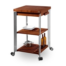 Legnoart Legnoart -ASTORIA Kitchen Trolley made of stainless steel and thermo ashwood - 60x60x95cm