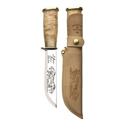 Marttiini Lapp 255 - Knife with stainless steel blade, curved birch handle and leather sheath