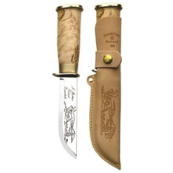 Marttiini Lapp 245 -Knife with stainless steel blade, curved birch handle and leather sheath