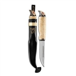 Wood Grouse - Knife with chromed stainless steel blade and handle in Finnish curly birch
