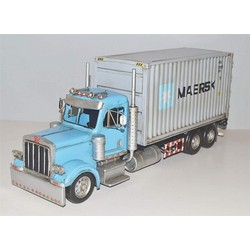 Nitsche Germany  Original Metal Collectible Model - Blue Container Truck - 49x16x20 cm