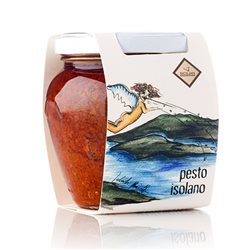 Handmade Sicilian Isolano Pesto with Tomato, Capers and Black Olives - 180g Jar