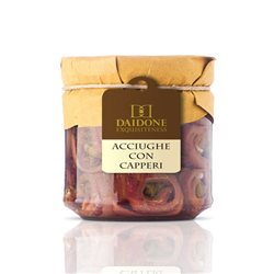 Handmade Sicilian Rounded Anchovies in Olive Oil with Capers - 200g Jar