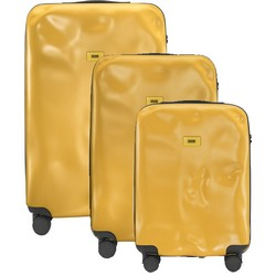 Crash Baggage Trolley Icon Line - Set of Three Pieces (Cabin Baggage, Medium, Large) - Yellow