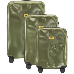 Crash Baggage Trolley Icon Line - Set of Three Pieces (Cabin Baggage, Medium, Large) - Olive Green