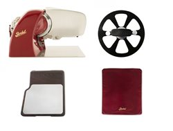 Home Line 200 Red + Cutting Board with Inox Plate + Slicer Cover Red Size M + Blade Extractor