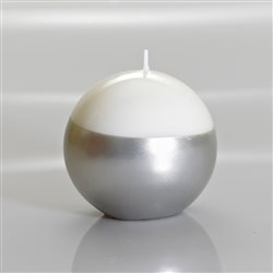 Meloria Italian Luxury Candles - Candela Sfera Bianca/Argento - Linea Glamour - Ø 150 mm