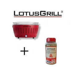 Lotusgrill Neuer 2019 Rot Barbecue XL mit Batterien und USB-Stromkabel+BBQ Spice Mix