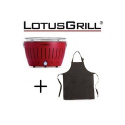 Lotusgrill Mod. Mini Ø 25.8 cm Red with Batteries and USB Power Cable+BBQ Apron