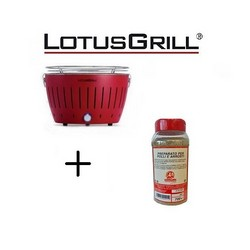Lotusgrill Mod. Mini Ø 25.8 cm Red with Batteries and USB Power Cable+BBQ Spice Mix