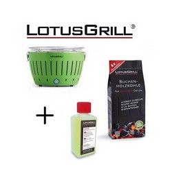 Lotusgrill Mod. Mini Ø 25.8 cm Green with Batteries and USB Power Cable+1Kg Charcoal+Bioethanol Fuel Paste