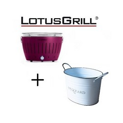 Lotusgrill Mod. Mini Ø 25.8 cm Purple with Batteries and USB Power Cable+Tin Ice Bucket