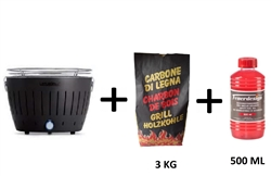 Lotusgrill Black Barbecue with Batteries and USB Power Cable + 3Kg of Charcoal + Combustible Gel!