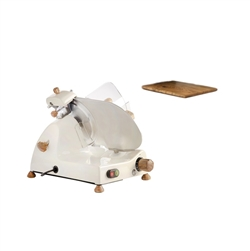 Curvy Line C220 electric slicer-22cm blade-Fixed sharpener+ulivo wood kit - Cream