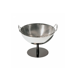 Alessi-Fruit bowl / colander in polished steel Foot in aluminum, anthracite