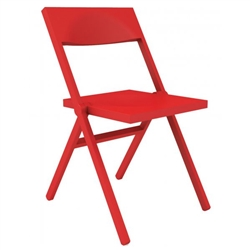 Alessi-Piana Folding and stackable chair in PP and fiberglass, red