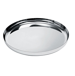 Alessi-Round tray in 18/10 stainless steel mirror polished