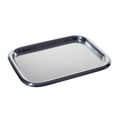 Alessi-Rectangular glove box in 18/10 satin stainless steel with polished edge
