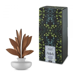 Alessi-Ahhh Leaf diffuser for room in porcelain and mahogany wood