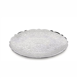 Alessi-Dressed Round tray in 18/10 stainless steel with relief decoration