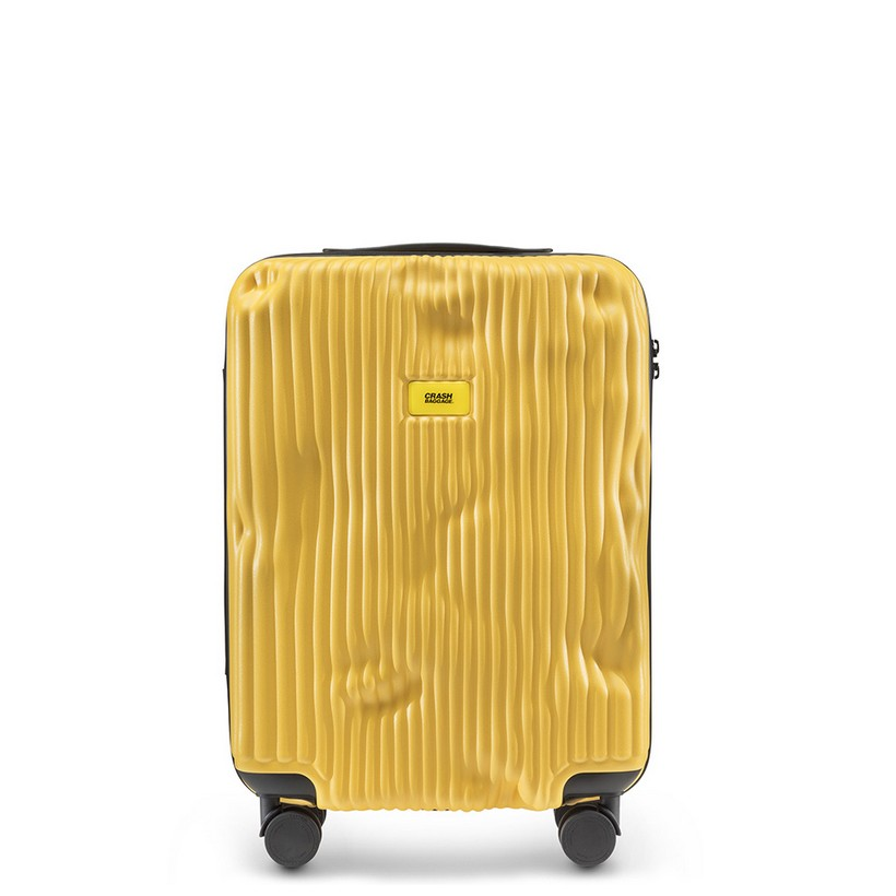 Trolley Stripe Line Cabin Baggage 4 Wheels 40 Litres Yellow