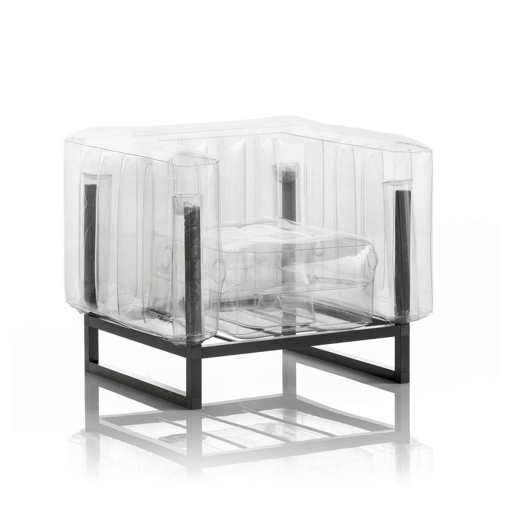 Aufblasbarer Sessel mit Metallstruktur - YOMI Linie - Transparent