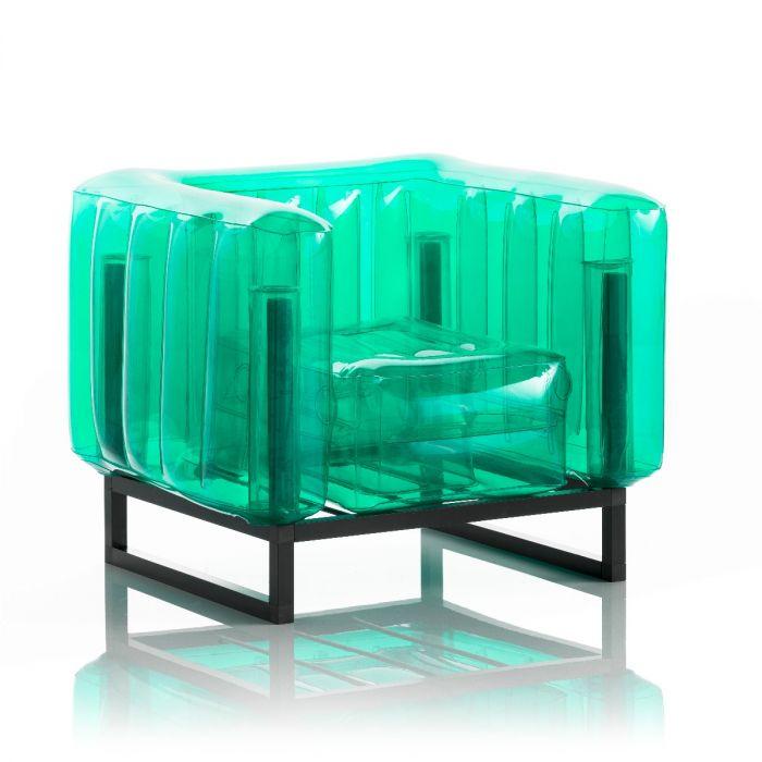 Aufblasbarer Sessel mit Metallstruktur - YOMI Linie - Grün