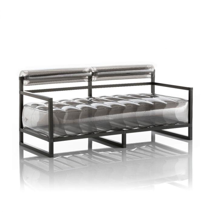 Aufblasbarer Sofa mit Metallstruktur - YOKO Linie - Schwarz