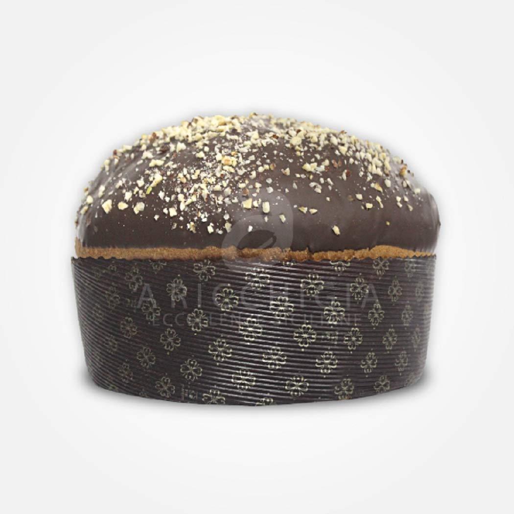A' Ricchigia - Panettone Artigianale ricoperto di Cioccolato e Granella di Nocciola - 750 gr
