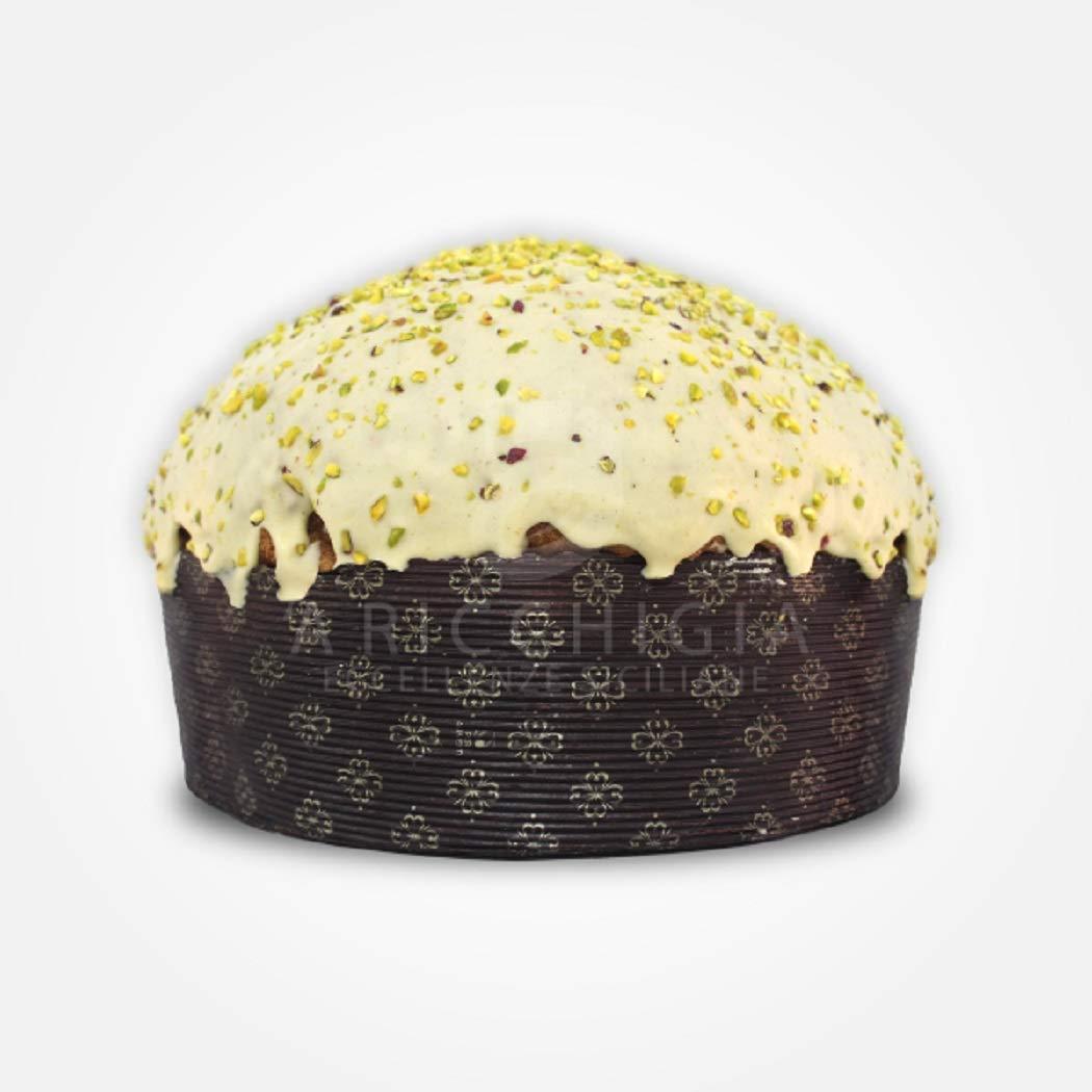 A' Ricchigia - Panettone Artigianale ricoperto di Cioccolato e Granella di Pistacchio - 750 gr