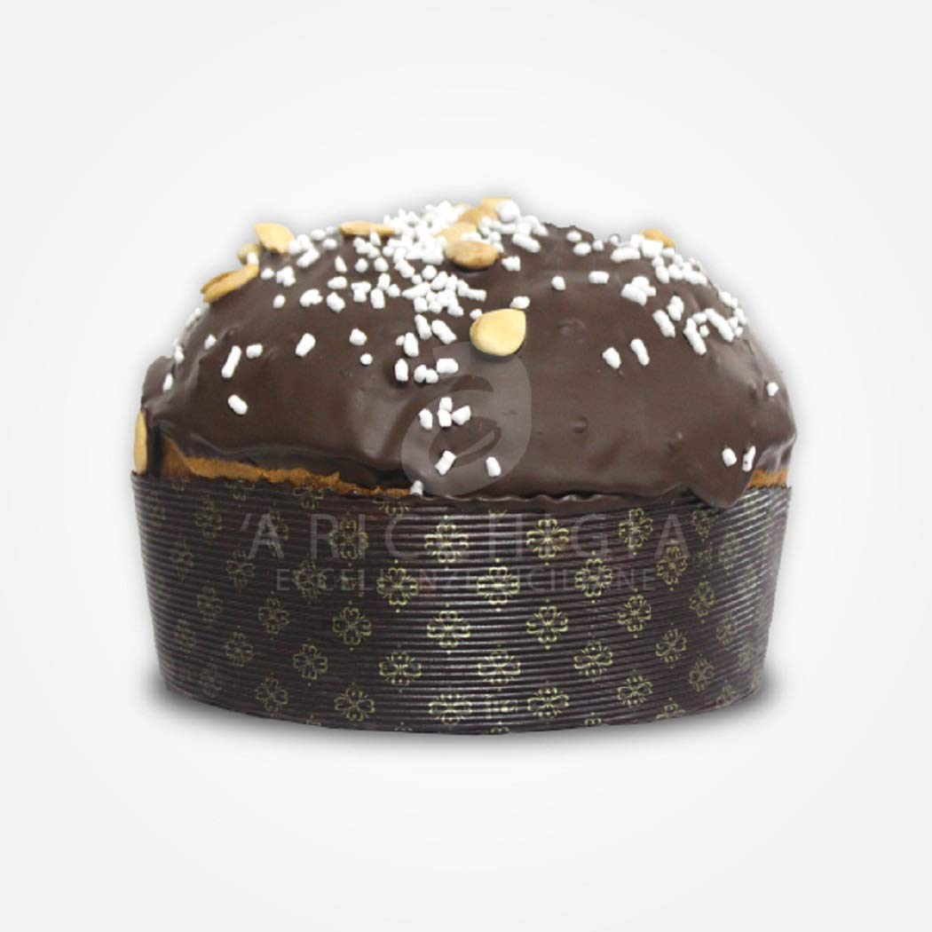 photo A' Ricchigia - Homemade Panettone Covered with Chocolate and Grains Almonds (750gr) with Glass of Al